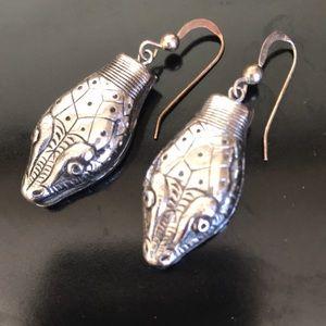 Vintage whiting and Davis snake head earrings